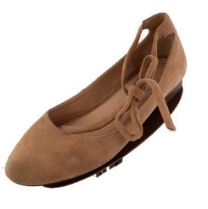 Franco Sarto tan ballet flats with lace up ankle